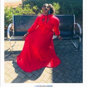Dresses & Skirts - Red Bow Neck Long Sleeve Maxi Dress 26/28